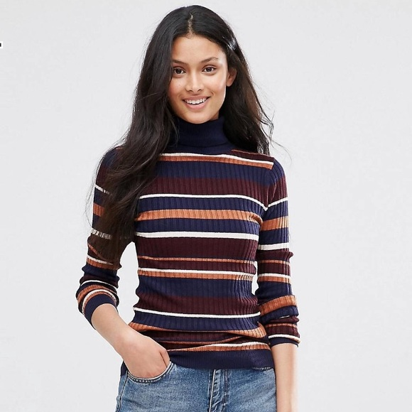 8a088ad2373 ASOS Sweaters - Asos Brave Soul Striped Roll Neck Sweater